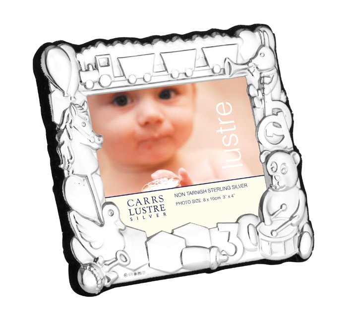Sterling Silver 8X10 cm Landscape Baby's Photo Frame With Velvet Back