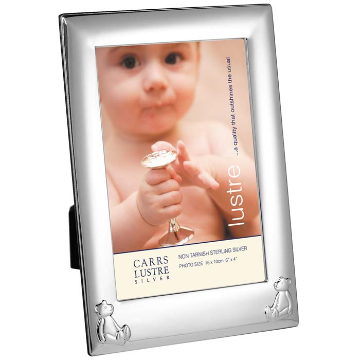 Sterling Silver Baby's Bear Rectangle 15X10 cm Photo Frame With Mahogany Back