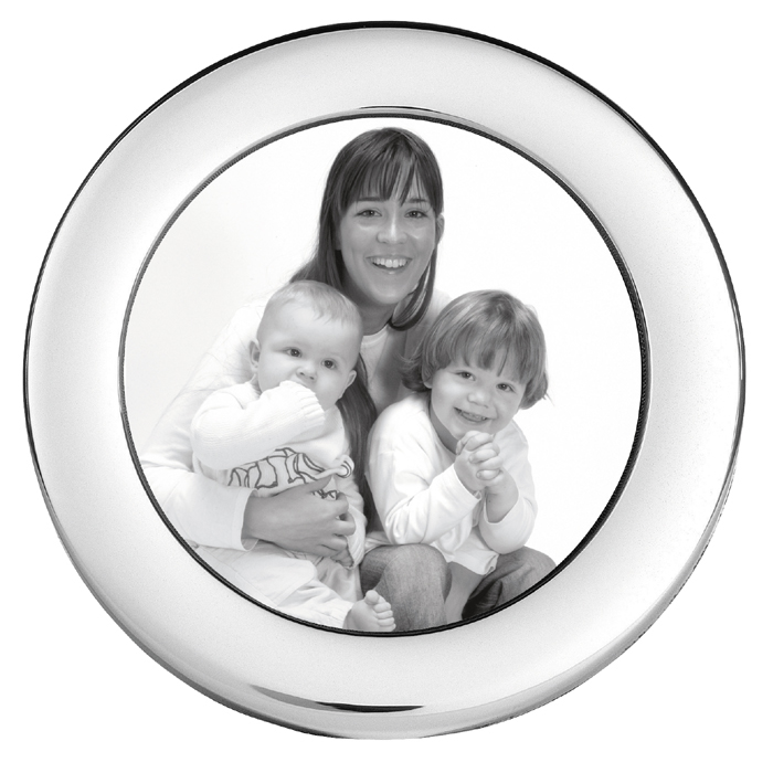 Sterling Silver Baby's Plain 6cm Circle Photo Frame With Velvet Back