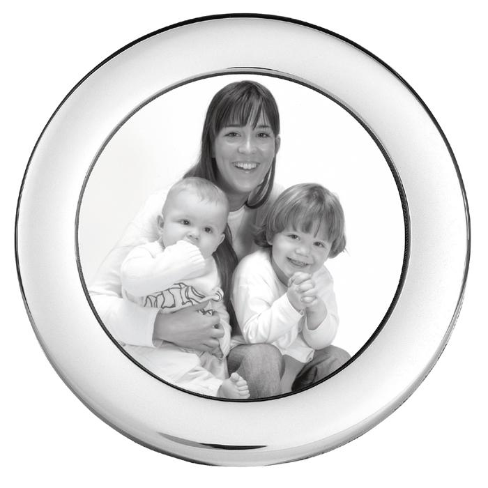 Sterling Silver Baby's Plain 6cm Circle Photo Frame With Velvet Back
