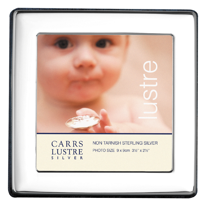 Sterling Silver Baby's Plain 9X9 cm Square Photo Frame With Velvet Back