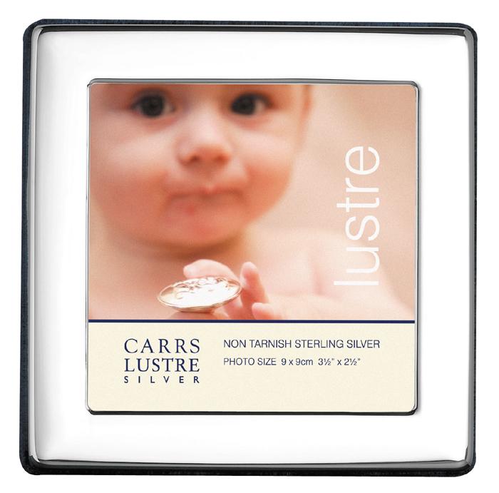 Sterling Silver Baby's Plain 9X9 cm Square Photo Frame With Velvet Back