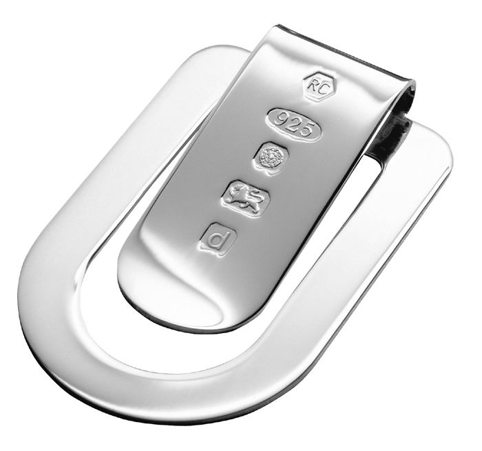 Sterling Silver Feature Hallmark Rounded Rectangular Money Clip