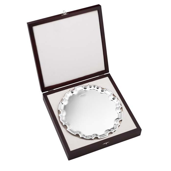 Sterling Silver Chippendale Salver 20cm 8 Inch In Presentation Case