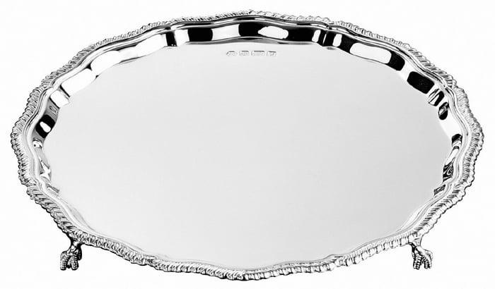 Sterling Silver Gadroon Salver 20cm 8 Inch