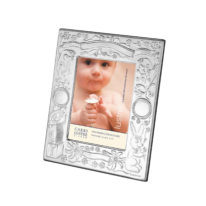 Sterling Silver 10x8 Cm Christening Photo Frame With Wood Back