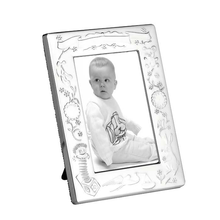 Silver Plated 13X9 cm Christening Photo Frame With Velvet Back