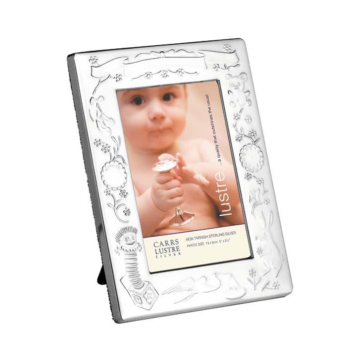 Sterling Silver 13X9 cm Christening Photo Frame With Velvet Back