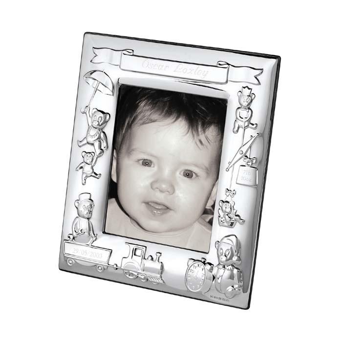 Sterling Silver 10X8 cm Teddy Bear Christening Photo Frame With Velvet Back