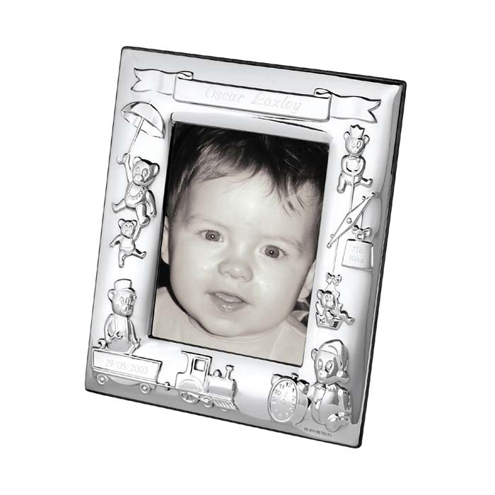Sterling Silver 10X8 cm Engraved Christening Photo Frame With Wood Back