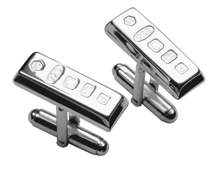 Sterling Silver Style Ingot With Post Cufflinks