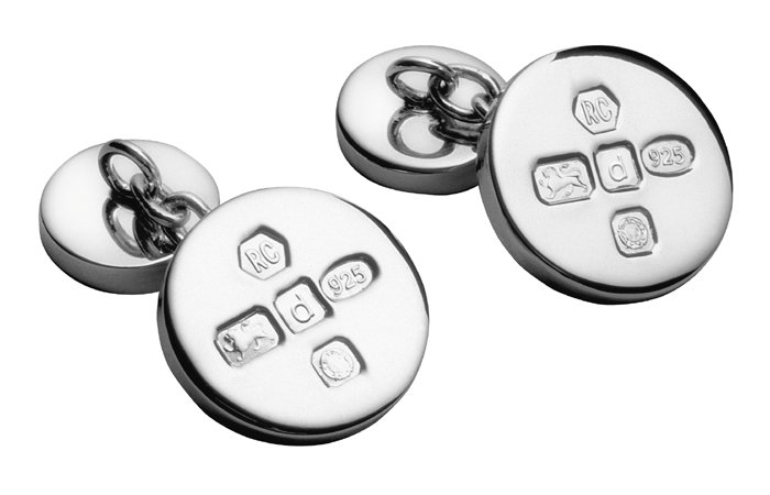 Sterling Silver Round With Chain Cufflinks