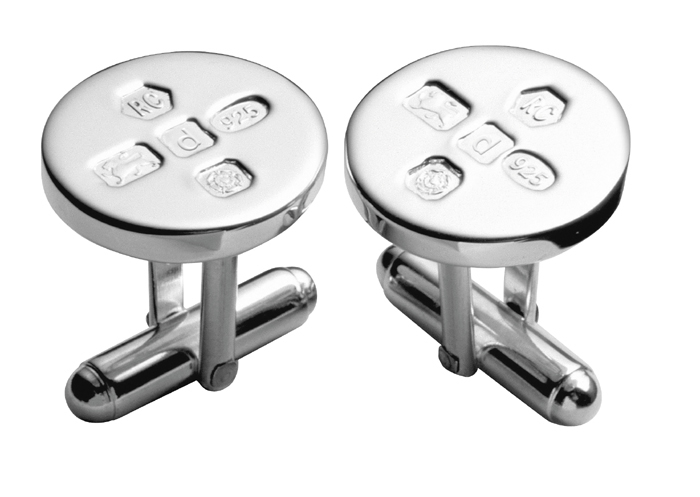 Sterling Silver Simple Round With Post Cufflinks