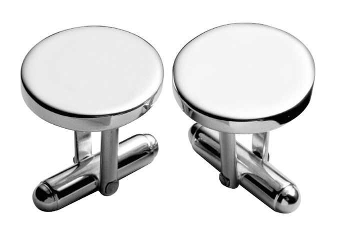 Sterling Silver Circular With Post Cufflinks