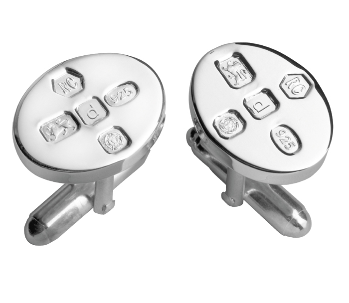 Sterling Silver Simple Style Oval With Post Cufflinks