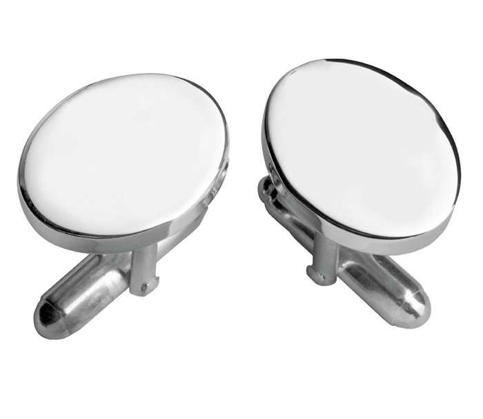 Sterling Silver Plain Oval With Post Cufflinks