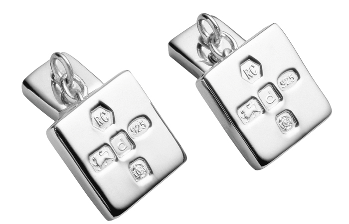 Sterling Silver Square With Chain Cufflinks