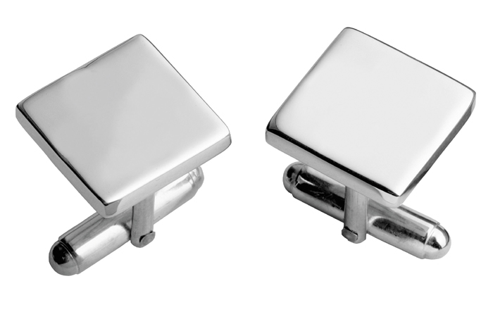 Sterling Silver Simple Square With Post Cufflinks