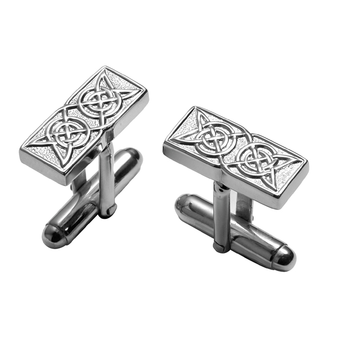 Sterling Silver Celtic Rectangle With Post Cufflinks