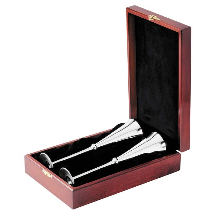 Silver Champagne Flute Pair In Presentation Case