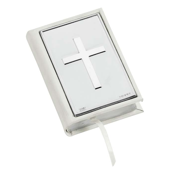White Leather Bible with Plain Cross