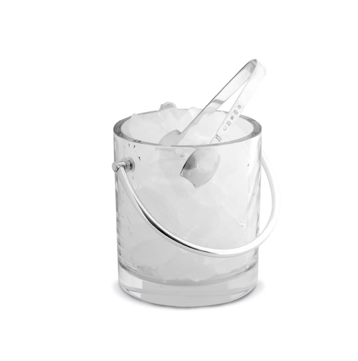 Crystal Ice Pail And Silver Ice Tongs