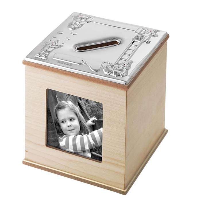 Sterling Silver And Maple Finish Photo And Money Box