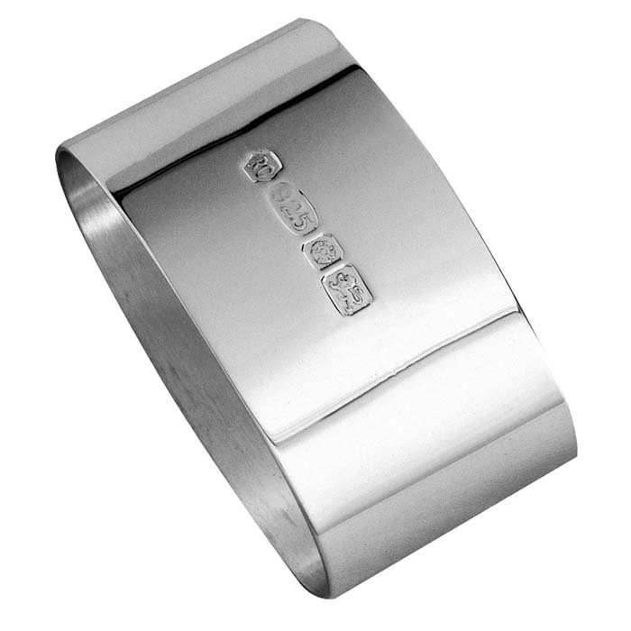 Sterling Silver Plain Oval Hallmarked Napkin Ring