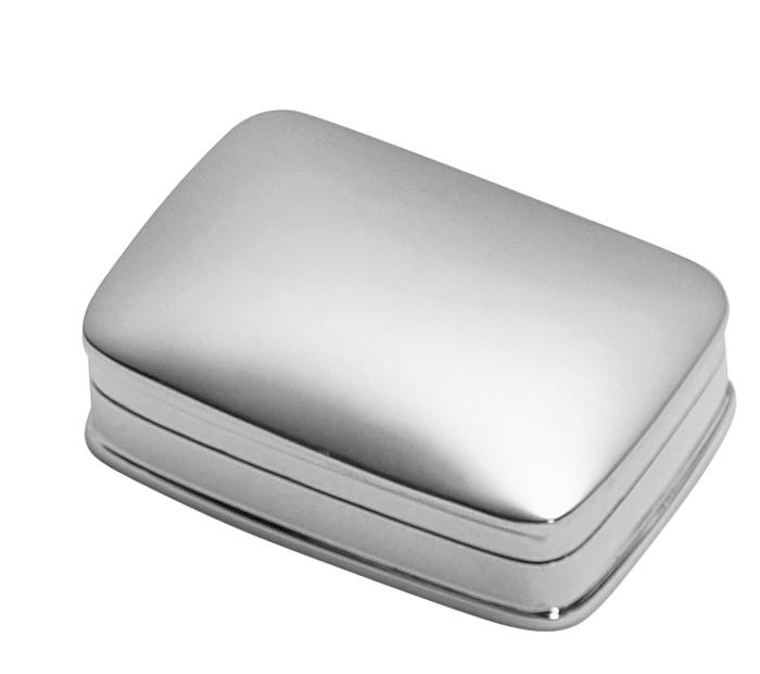 Sterling Silver Pill Box Plain Rectangle