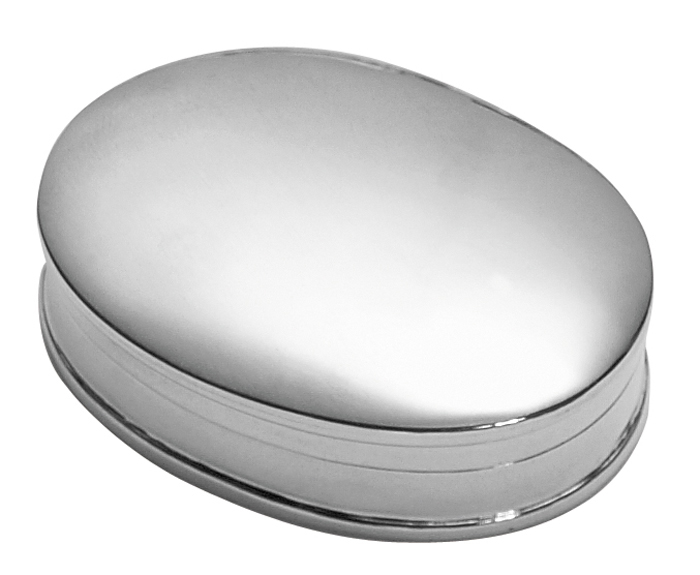 Sterling Silver Plain Oval Styled Pill Box