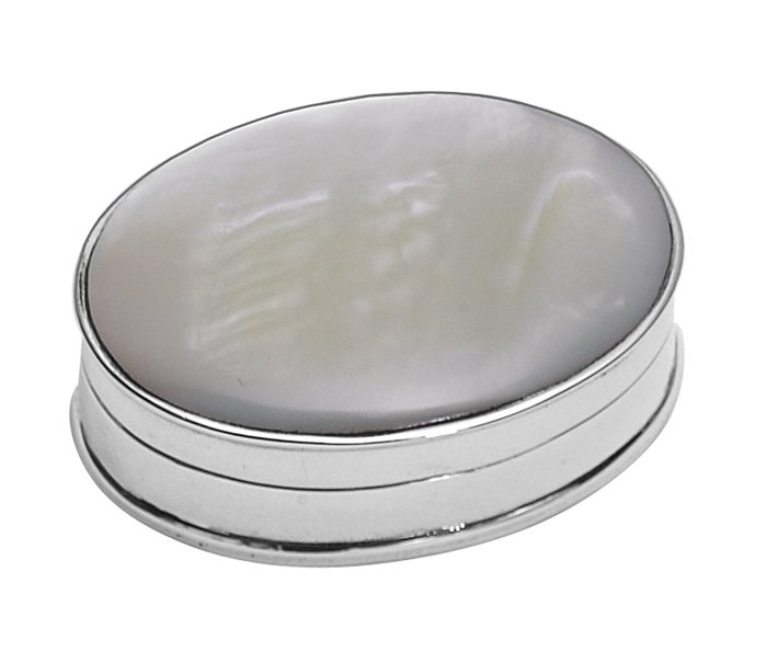 Sterling Silver Mother Of Pearl Top Oval Pill Box