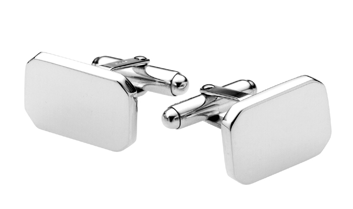 Sterling Silver Plain Octagonal Cufflinks