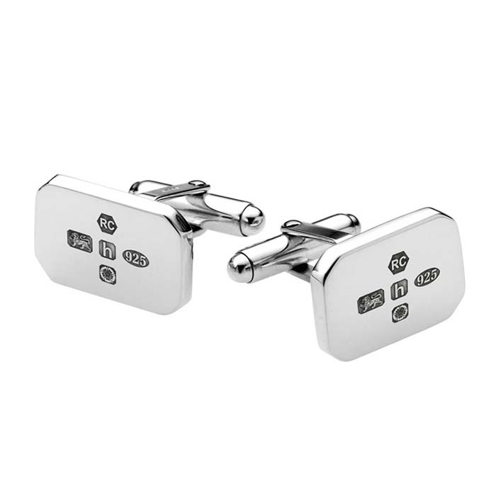 Sterling Silver Rectangular Post Feature Hallmark Cufflinks