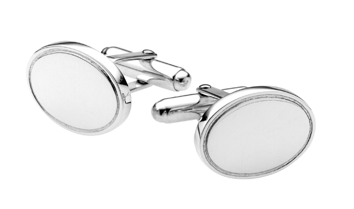 Sterling Silver Coined Edge Oval Cufflinks