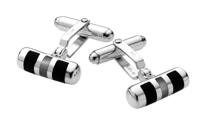 Sterling Silver Onyx And Mother Of Pearl Centre Cufflinks