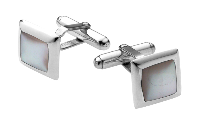 Sterling Silver Square Inset Mother Of Pearl Cufflinks