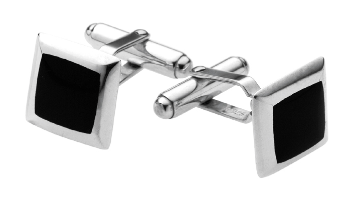 Sterling Silver Square Inset Onyx Cufflinks