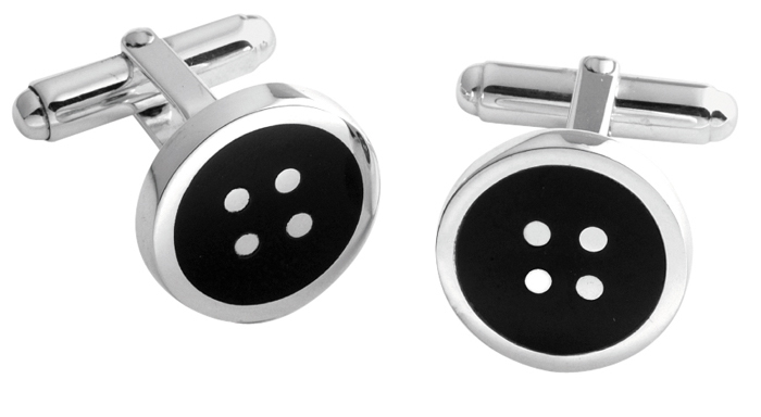 Sterling Silver Onyx Button Cufflinks