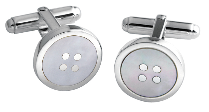 Sterling Silver Mother Of Pearl Button Cufflinks