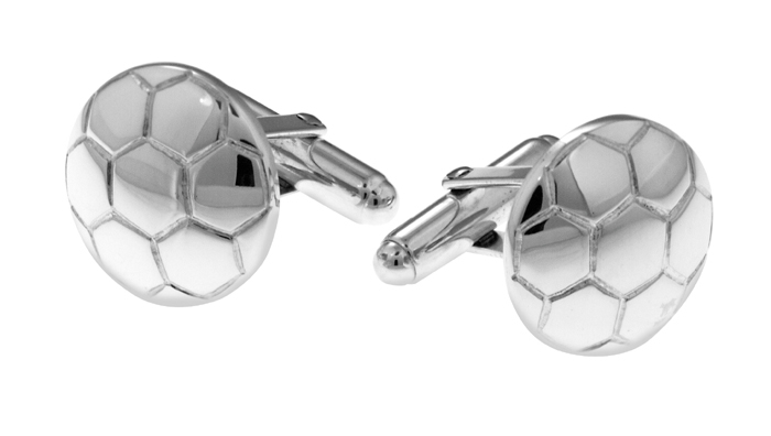 Sterling Silver Simple Football Cufflinks