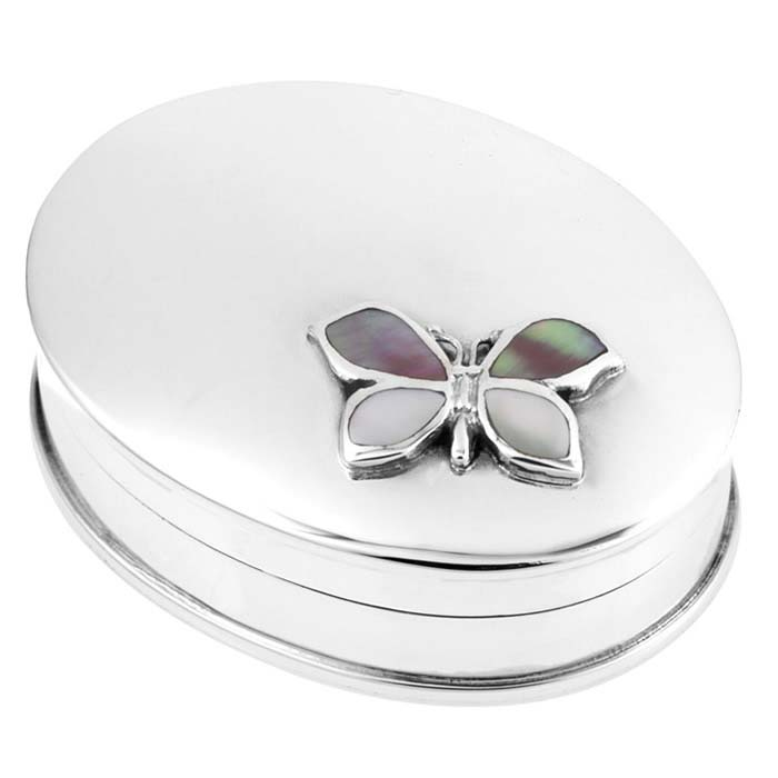 Sterling Silver Mother Of Pearl And Pink Shell Butterfly Box