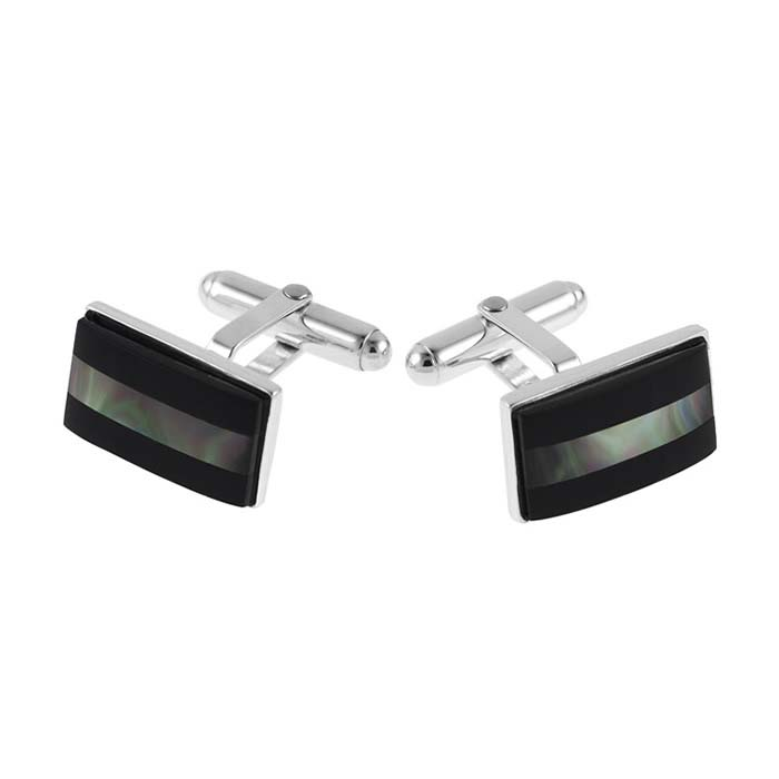 Sterling Silver Onyx And Black Mother Of Pearl Post Cufflinks