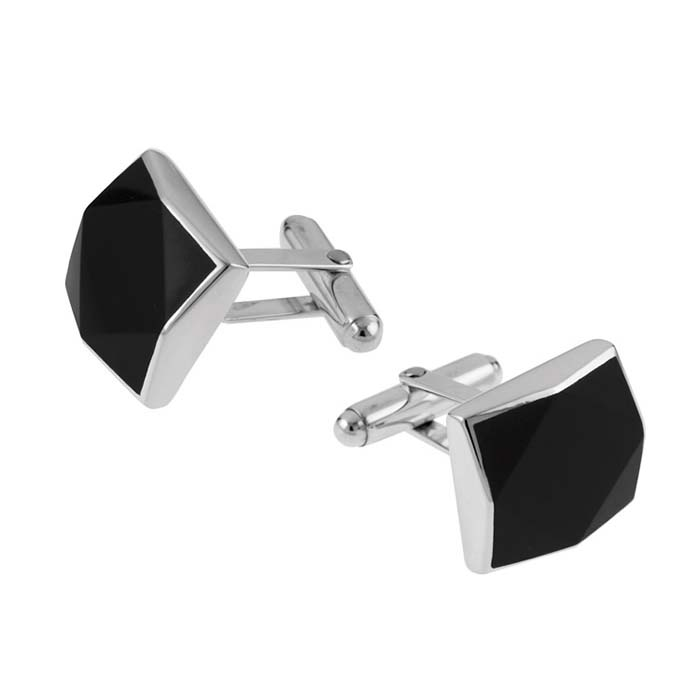 Sterling Silver Simple Style Onyx Post Cufflinks