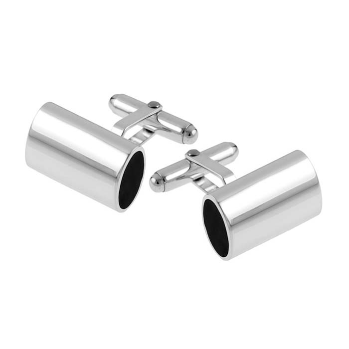 Sterling Silver Tubular Onyx Cufflinks