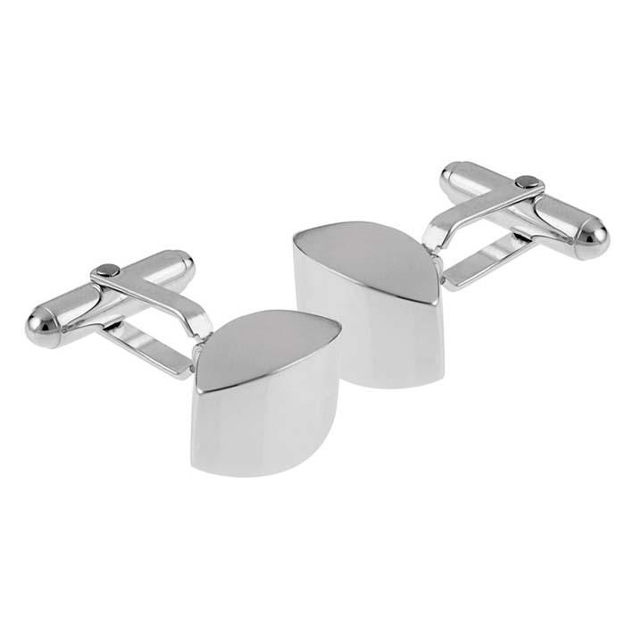 Sterling Silver Plain Silver Post Cufflinks