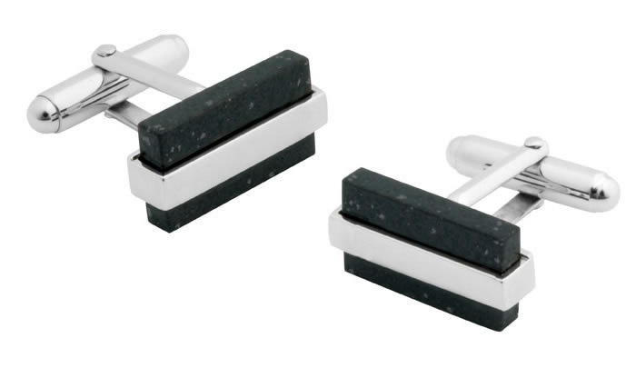 Sterling Silver Granite Post Cufflinks