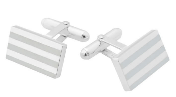 Sterling Silver Silver Stripe Rectangle Post Cufflinks