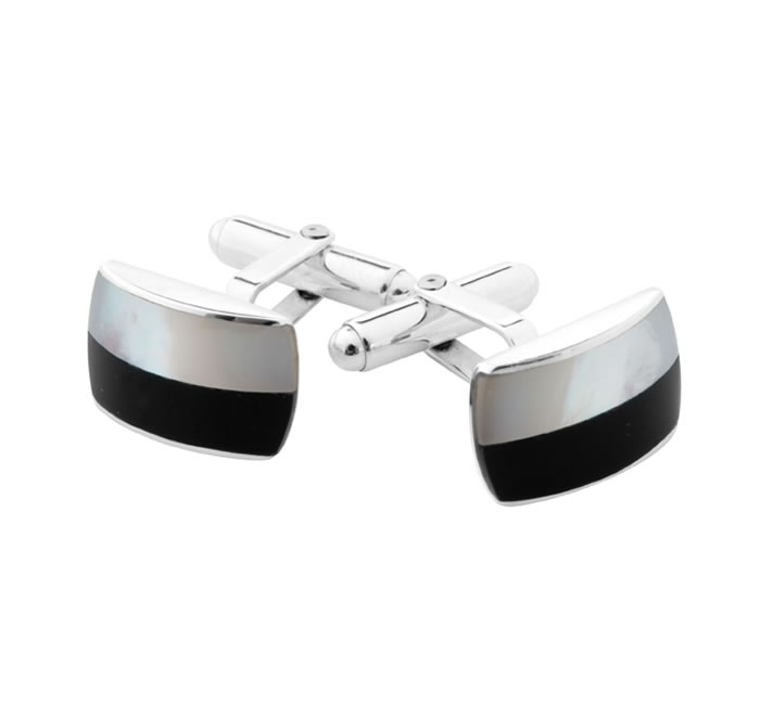 Sterling Silver Onyx And Mother Of Pearl Post Cufflinks