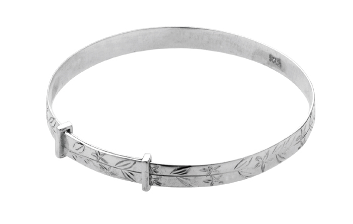Sterling Silver Floral Engraved Adjustable Baby Bangle