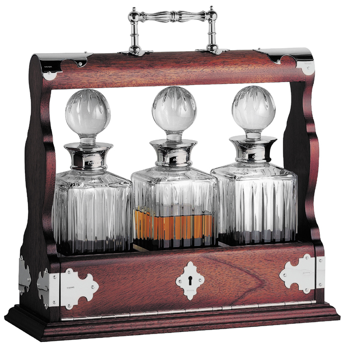 Oak Triple Tantalus Decanter Set With Sterling Silver Brackets